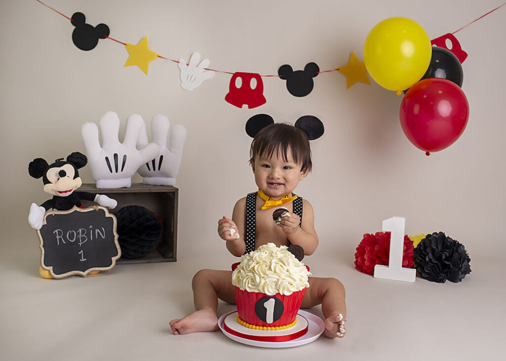 themed cake smash baby's first birthday