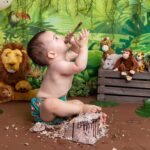 logan's first birthday cake smash – the jungle cake smash!
